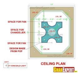 False ceiling design for the room size 16 ft by 14 ft.