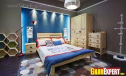 kids room bed and study table in wood finish