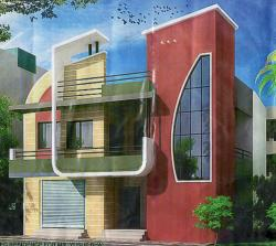 """Front Elevation of 22"""" x 50 """" plot building"""