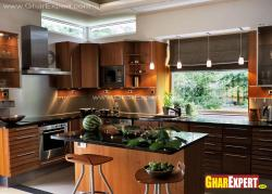 L shape smart kitchen with island in the enter