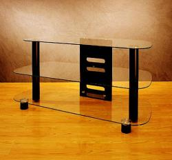 modern entertainment unit with 3 glass shelves