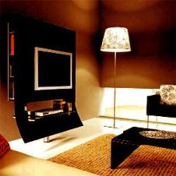 black tv wall unit