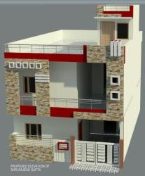 """Front Elevation of 20"""" x 50 """" plot building"""
