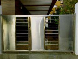 Stainless steel door design with half covered design