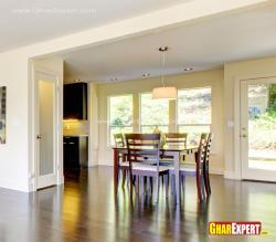 6 seater dining table near the kitchen