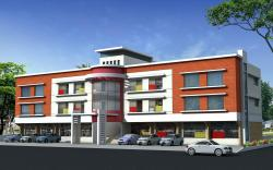Residential apartment building exterior elevation in 3D