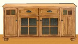 Wooden LCD unit with glass panels