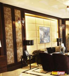 upholstered walls and modern rugs for drawing room