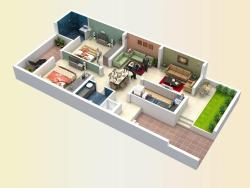 Top view of 2BHK house
