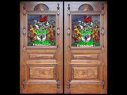 Glass paneled doorwith stained glass