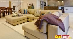 Upholstered sectional sofa set for living area