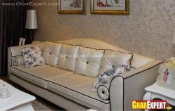 3 seater leather upholstered sofa for living room