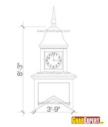 Square shaped ogee roof top cupola clock on the sides