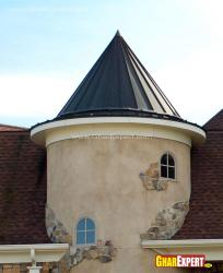 Aluminum cone roof top cupola design for villa
