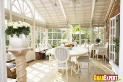 Dining furniture in covered front area
