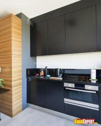 Modular one wall kitchen cabinets in black