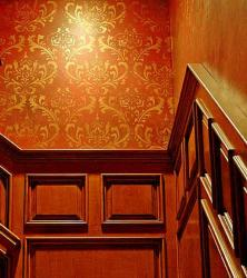 wall stencil paint design on stair wall