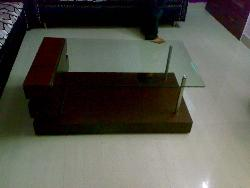 Center Table- Wooden table in glass top