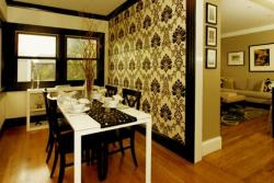 wallpaper on partition wall for dining area