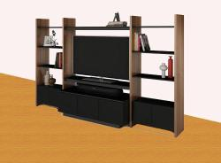 entertainment unit design with shelves