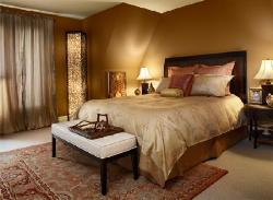 Bedroom With Brown Wall Color