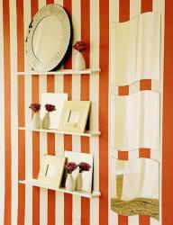 striped wall in red and white paint