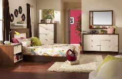 Teen Bedroom with White Storage
