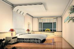 3D bedroom design with daylight window