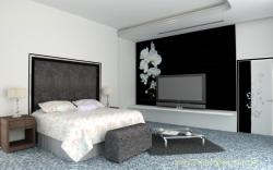 Bed Room concept showing headboard for a bed and a LCD unit