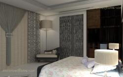Curtain View side for a concept bedroom in 3D