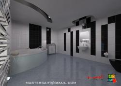 Bathtub view in a Large Bath Room design in 3D