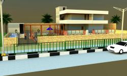 Exterior Look in 3D with road and divider