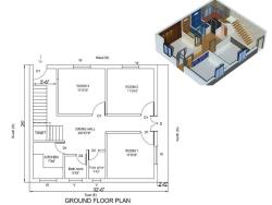 "House Plan for 32""6"" by 26 Feet plot (Plot Size 832 Square Yards)"