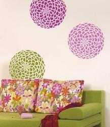 Living Room Wall Art with Stencil