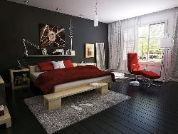 Modern Bedroom with dark floor and wall design