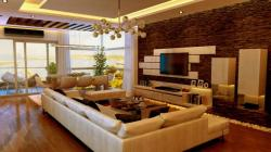 tv wall unit stone cladded