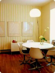 wall strips in yellow and white paint in dining