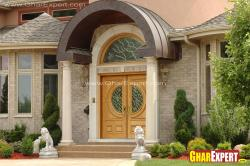 beautiful curved roof over the porch in front door
