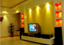 lcd unit with glass shelf and coves with colored background