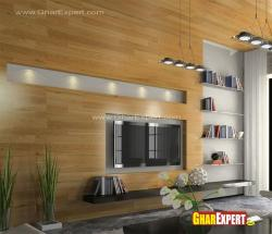 Exclusive style of LCD wall design with wall to wall wooden cladding