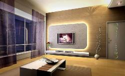 Stylish Wall accent lighting and beautiful curtain Design