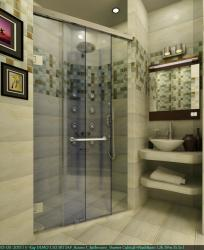 Shower enclosure gives a five star look to the bathroom 3D render with patterns on walls done using ceramic tile