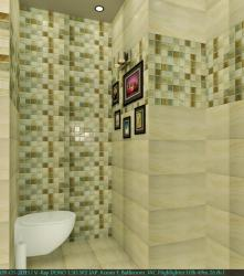 Bathroom 3D render with patterns on walls done using ceramic tile