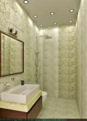 Small width with tiles covering complete bathroom walls