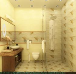 Three Dimensional rendering of a modern bathroom done by artistic interior designer