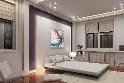 Bedroom concept with backlit wall
