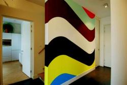 colorful wall paint pattern done in deco paint