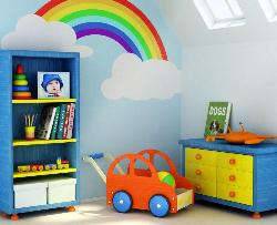 wall design and furniture for kids room