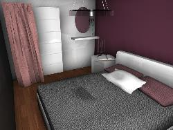 3D Layout for Bedroom with Violet color theme