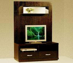 Compact lcd tv stand in dark wood